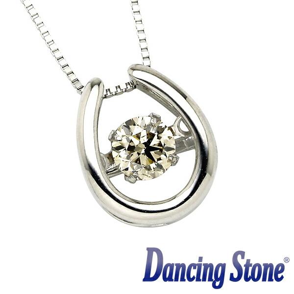 揺れるダイヤ プラチナ ダイヤモンド ネックレス ダンシングストーン 一粒 0.3カラット Pt900 0.3ct 馬蹄(ばてい) スライドチェーン ds-33-685044