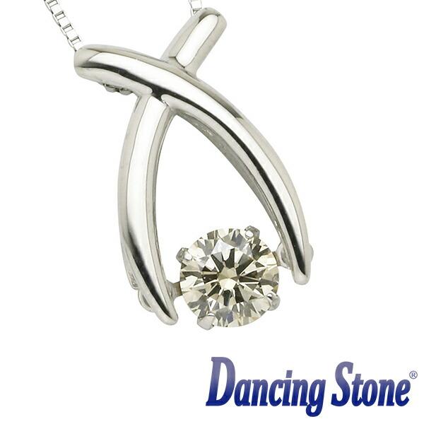 揺れるダイヤ プラチナ ダイヤモンド ネックレス ダンシングストーン 一粒 0.3カラット Pt900 0.3ct リボン スライドチェーン ds-34-685047