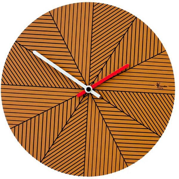 【正規輸入品】 イタリア ピロンディーニ ART084-BROWN Pirondini 木製掛け時計 Cronofilla 84 ブラウン