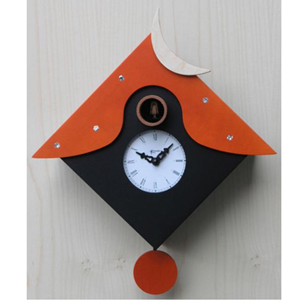 【正規輸入品】 イタリア ピロンディーニ 104B Pirondini 木製鳩時計 Cucu CTRANT オレンジ