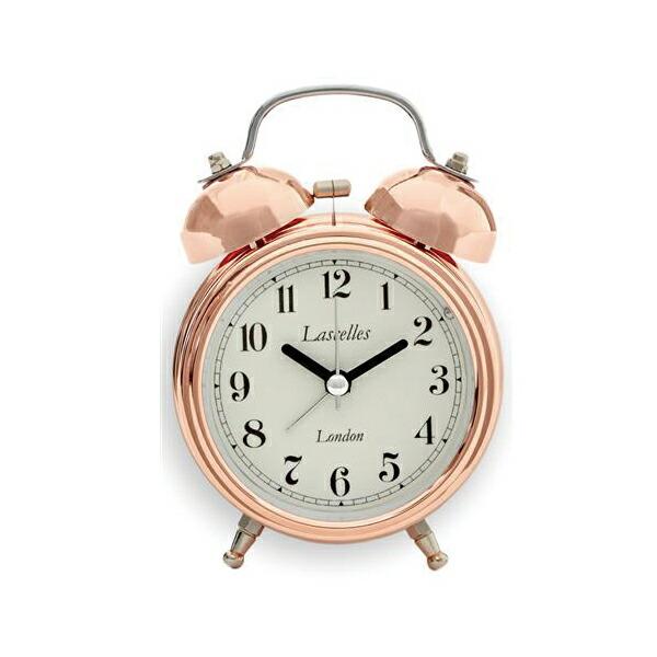 【正規輸入品】 イギリス ロジャーラッセル 置き時計 ROGER LASCELLES アラームクロック ダブルベル COPPER レトロ ローズピンクカラー 目覚まし時計 (ALB/LASC/COPPER)