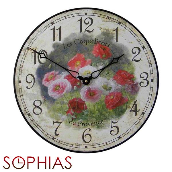 【正規輸入品】 イギリス ロジャーラッセル PUB/COQUELICOTS ROGER LASCELLES 掛け時計 フローラルクロック