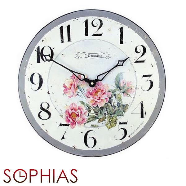 【正規輸入品】 イギリス ロジャーラッセル PUB/WILDROSES ROGER LASCELLES 掛け時計 フローラルクロック