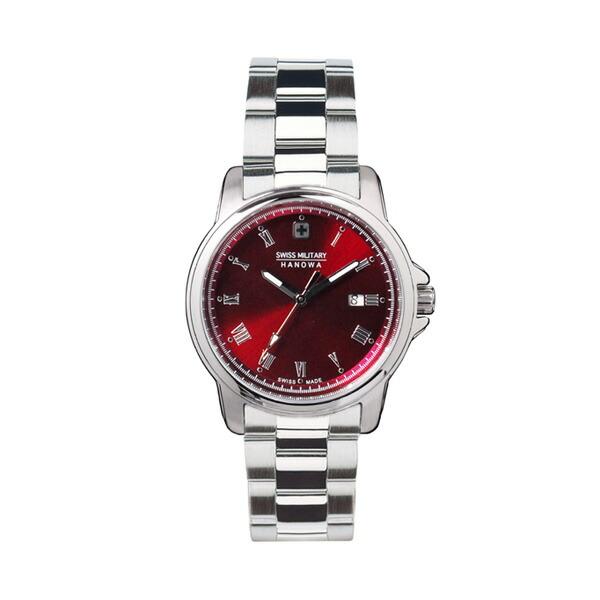 スイスミリタリー 腕時計 ML397 ローマン 限定モデル シルバー×レッド レディース 【長期保証5年付】