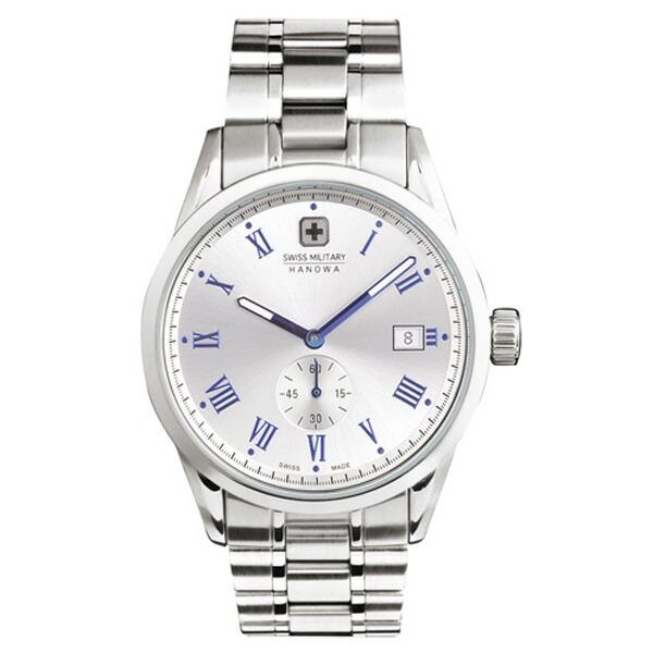 スイスミリタリー 腕時計 ML401 ローマン シルバー×ブルー メンズ 【長期保証5年付】