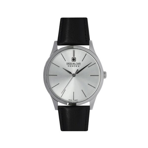 スイスミリタリー 腕時計 ML412 PRIMO プリモ シルバー×ブラックレザー メンズ 【長期保証5年付】