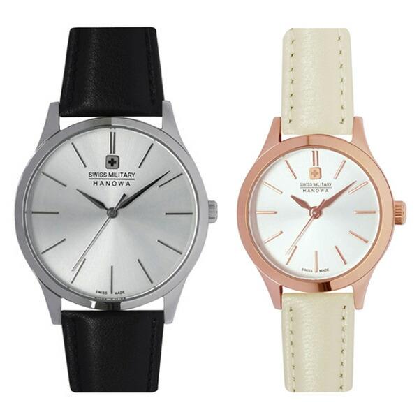 ペア腕時計 スイスミリタリー ML412&ML413 プリモ シルバー×ブラックレザー&シルバー×ホワイトレザー 【長期保証5年付】