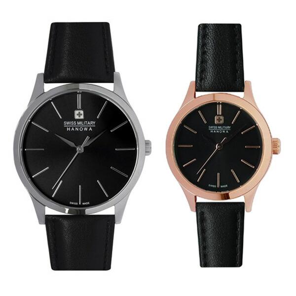 ペア腕時計 スイスミリタリー ML411&ML422 プリモ ブラック×ブラックレザー 【長期保証5年付】