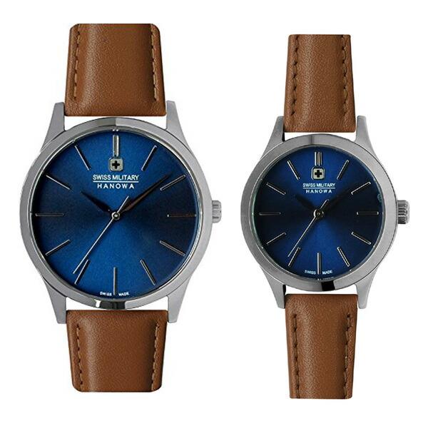ペア腕時計 スイスミリタリー ML420&ML421 プリモ ブルー×ブラウンレザー 【長期保証5年付】