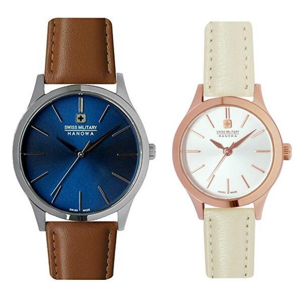 ペア腕時計 スイスミリタリー ML420&ML413 プリモ ブルー×ブラウンレザー&シルバー×ホワイトレザー 【長期保証5年付】