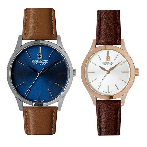 ペア腕時計 スイスミリタリー ML420&ML423 プリモ ブルー×ブラウンレザー&シルバー×ブラウンレザー 【長期保証5年付】