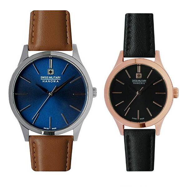 ペア腕時計 スイスミリタリー ML420&ML422 プリモ ブルー×ブラウンレザー&ブラック×ブラックレザー 【長期保証5年付】