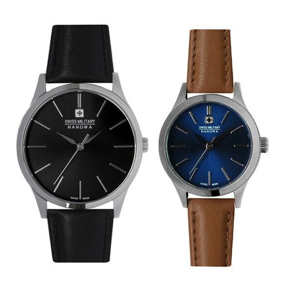 ペア腕時計 スイスミリタリー ML411&ML421 プリモ ブラック×ブラックレザー&ブルー×ブラウンレザー 【長期保証5年付】
