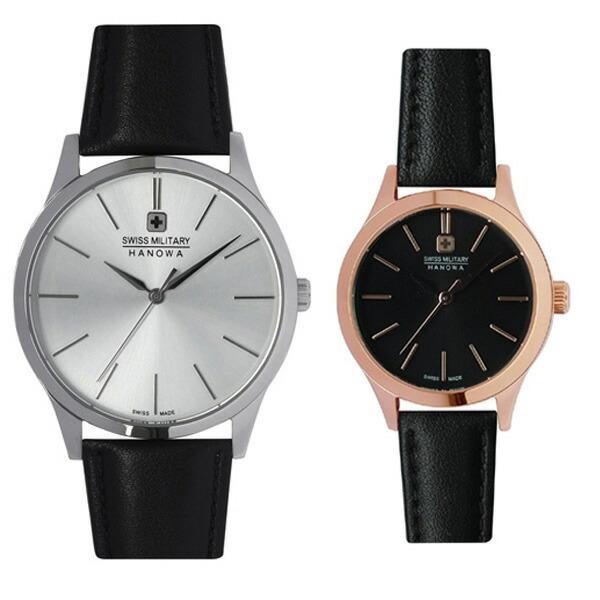ペア腕時計 スイスミリタリー ML412&ML422 プリモ シルバー×ブラックレザー&ブラック×ブラックレザー 【長期保証5年付】