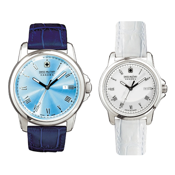 SWISS MILITARY/スイスミリタリー/腕時計 ペア腕時計 ML409&ML410 ローマン ブルー×ブルーレザー&ホワイト×ホワイトレザー 【ペアウォッチ】【長期保証5年付】