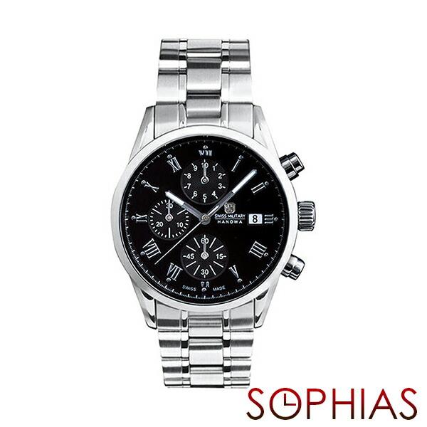 スイスミリタリー 腕時計 ML346 ローマン クロノグラフ シルバー×ブラック メンズ 【長期保証5年付】