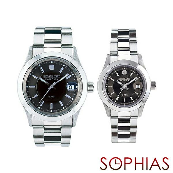 ペアウォッチ スイスミリタリー ML300&ML308 ペア腕時計 エレガント プレミアム ブラック 【長期保証5年付】