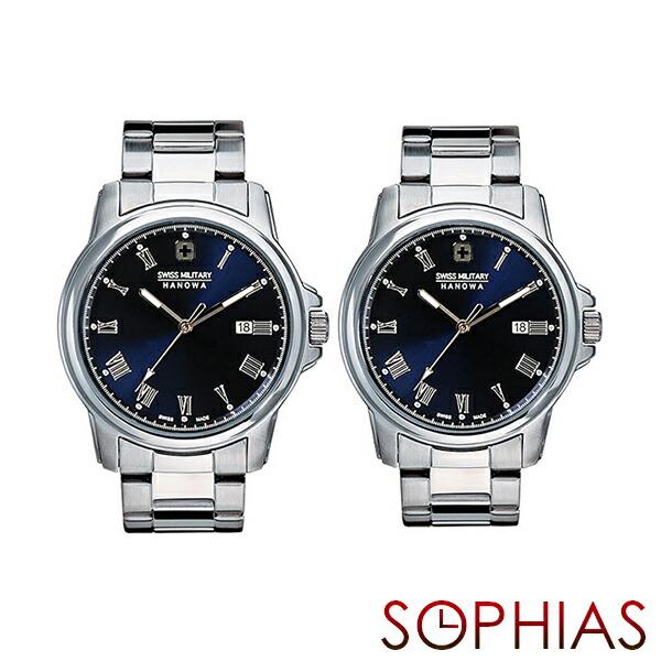 スイスミリタリー ペア腕時計 ML376&ML378 ローマン シルバー×ブルー ペアウォッチ 【長期保証5年付】