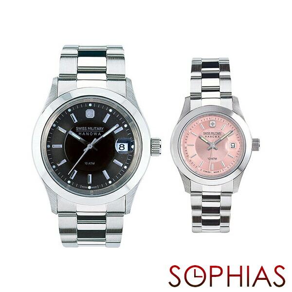 スイスミリタリー ペア腕時計 ML300&ML311 エレガント プレミアム ブラック&ピンク ペアウォッチ 【長期保証5年付】