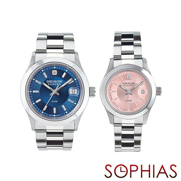 スイスミリタリー ペア腕時計 ML301&ML311 エレガント プレミアム ブルー&ピンク ペアウォッチ 【長期保証5年付】
