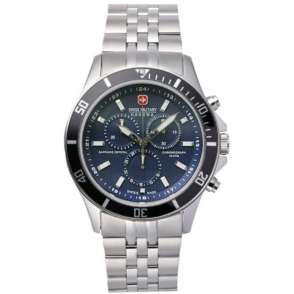 スイスミリタリー 腕時計 ML339 フラッグシップ クロノグラフ ブルー 【長期保証5年付】