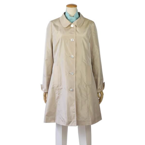 コート ジャケット アウター ステンカラーコート スプリングコート ロングコート 天然素材 シルク 絹 肌に優しい ベージュ