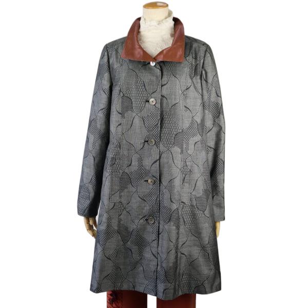 コート レディース ハーフコート アウター グレー 11号 L i 着物 ヨシダファッションオリジナル 大島紬 和風