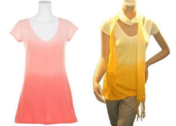 倉庫在庫でお得な商品 メール便可 フレンチ袖ロング綿Tシャツ オレンジ系ぼかし柄に同色マフラー付 新登場 春の新作続々 サイズM寸