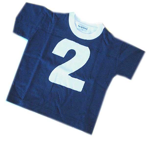 """オンリーワンサイズでお得な商品[メール便可] 綿100%半袖 Tシャツ【サイズ100】紺色に""""2""""のアップリ付"""