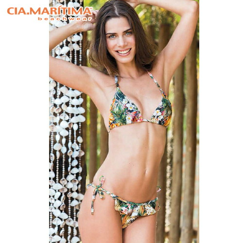 1a4881eef0b Brazilian bikini import swimsuit triangle bikini tropical pattern frill  European cut CIA.MARITIMA CM ...