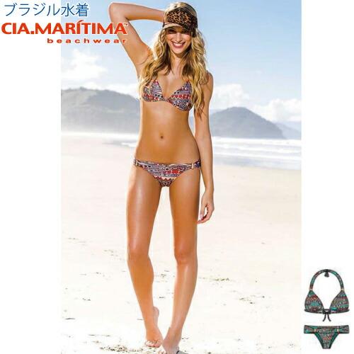 CIA.MARITIMA カンパーニャ マリッチマ ブラジル インポート水着 ビーチウエア 三角ビキニ アフリカン柄 cm-467