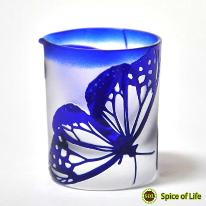 Sand blast hand made one of a kind! «Color glass covers» ◆ Art Nouveau Butterfly Butterfly boneset ヨツバヒヨドリ floral glass sculpture glass crafted hand-made Japan-made housewarming gift ◆