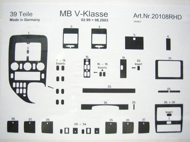 ●MB W638・Vクラス/'00-●インテリアパネル/ローズウッド●39p