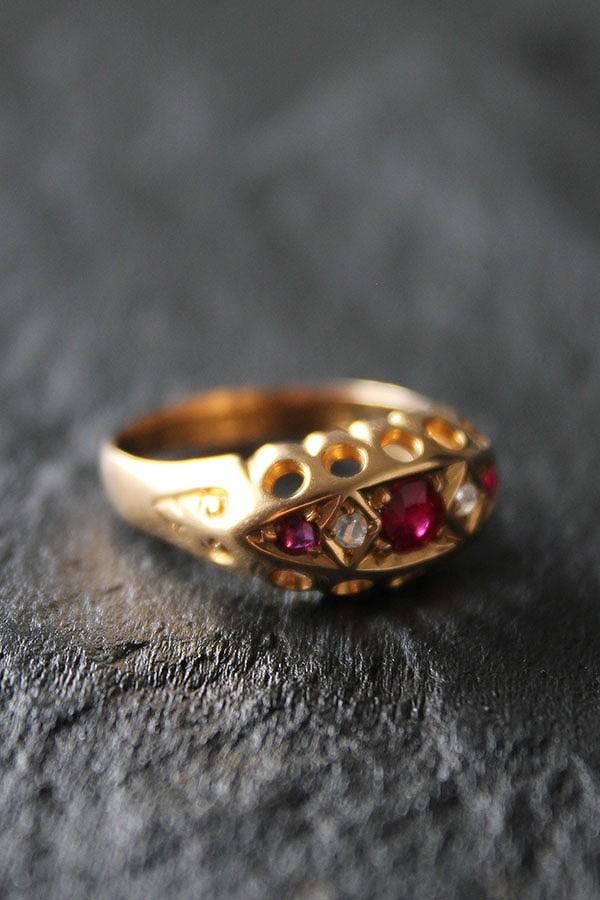 英国 エドワーディアン 1905年 ルビー&ダイヤモンド 18金ゴールドリング13.5号 宝石鑑別書付