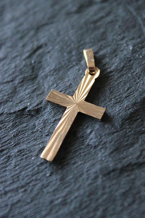 ヴィンテージ 英国 1989年 JIS バーミンガムホールマーク 9金ゴールド クロス/十字架チャーム/ペンダント me01 ne02