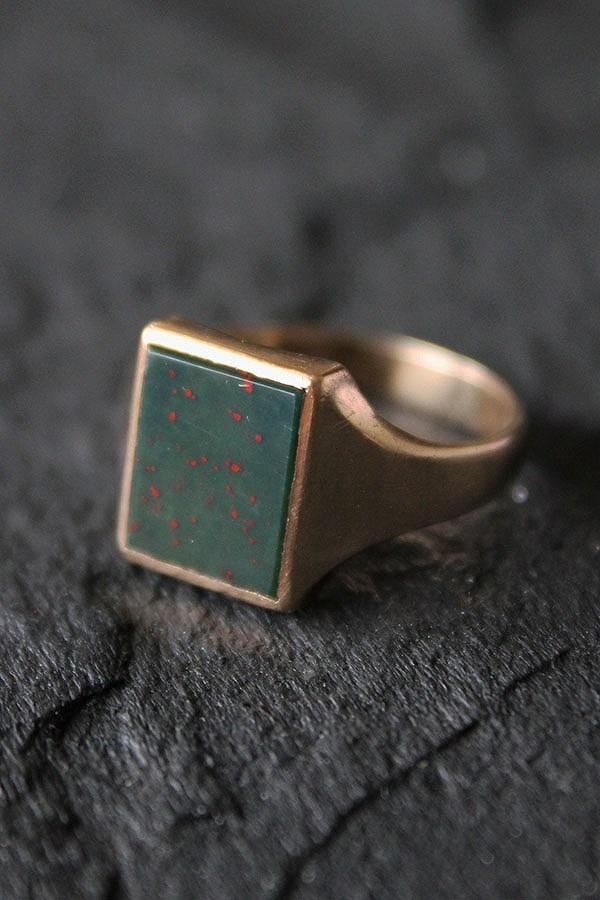 アンティーク 英国 1913年 B&R ロンドンホールマーク ブラッドストーン 9金ゴールドシグネットリング20号 me01 ri04