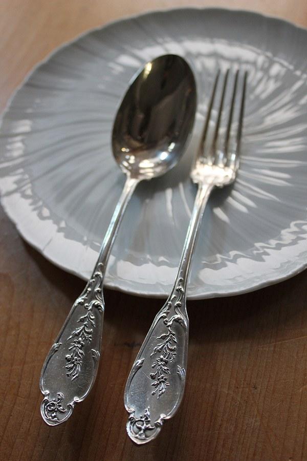 フランス Alphonse Debain工房 1883-1911年 純銀/シルバースプーン&フォークセット19cm 96g