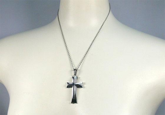 クロス 十字架 時間指定不可 3重 モチーフペンダント ステンレス製 爆安プライス 45cm シルバー ネックレス