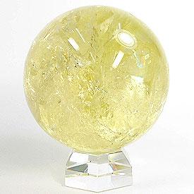 シトリン(天然)黄色水晶 丸玉 68mm 台座付き 天然石 パーワーストーン