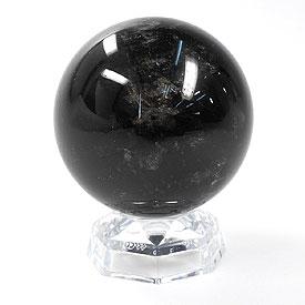 モリオン(黒水晶) 丸玉 75mm 台座付き 天然石 パーワーストーン