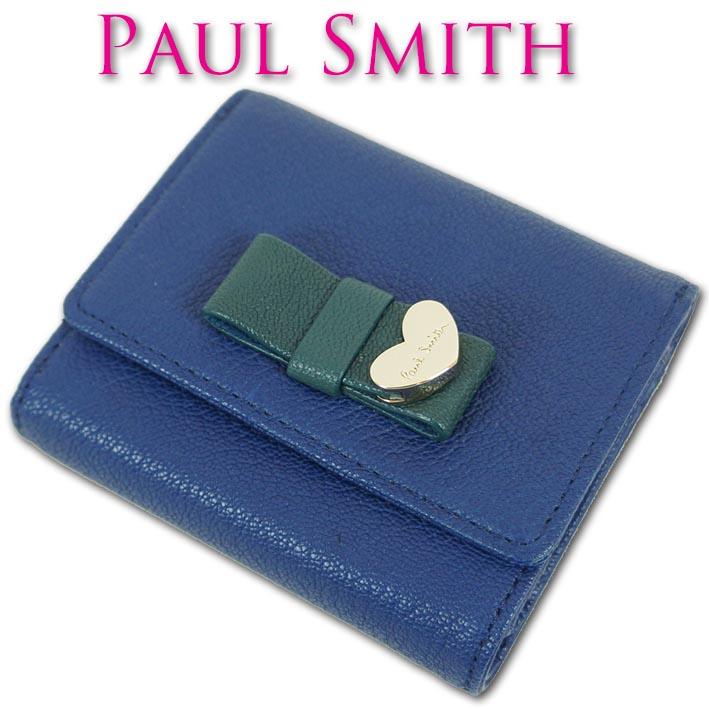 ポールスミス Paul Smith ゴートスキン コントラストリボン 三つ折り財布 レディース ブルー