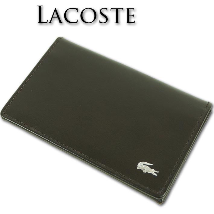 ラコステ LACOSTE 牛革 名刺入れ メンズ ブラウン 茶 カードケース