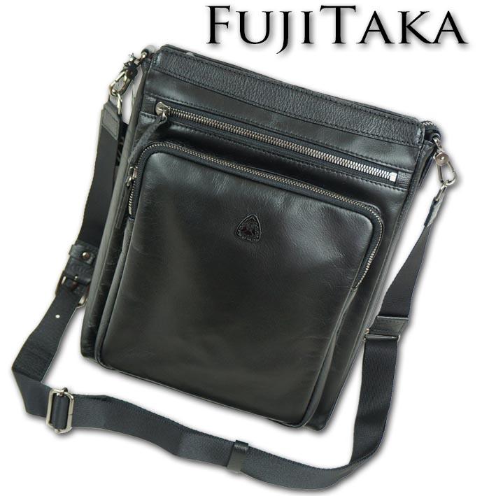 フジタカ FUJITAKA 牛革 2WAY ショルダーバッグ メンズ ブラック 黒 日本製 定価34,000円+税