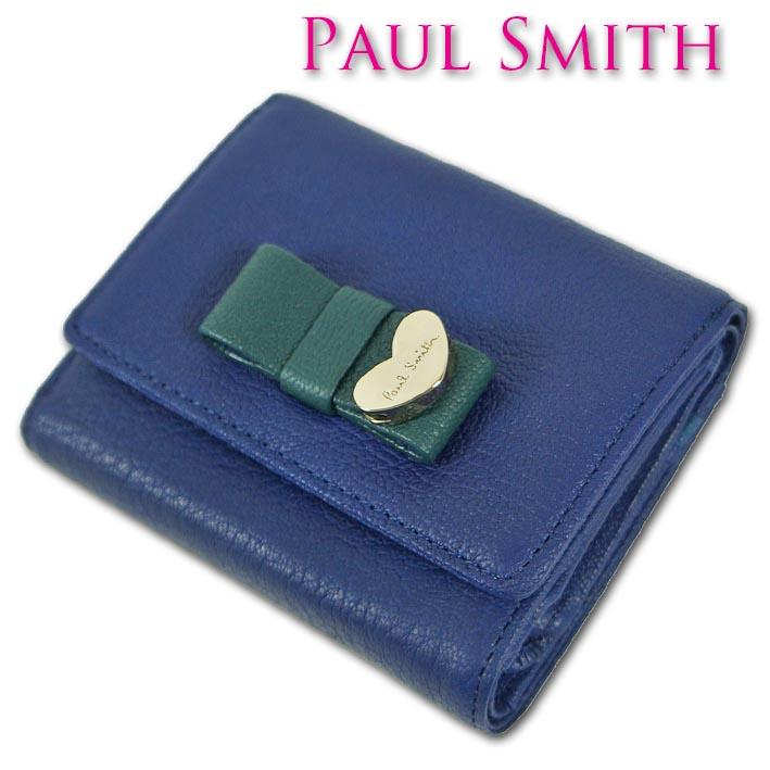 ポールスミス Paul Smith ゴートスキン 三つ折り財布 レディース ブルー コントラストリボン