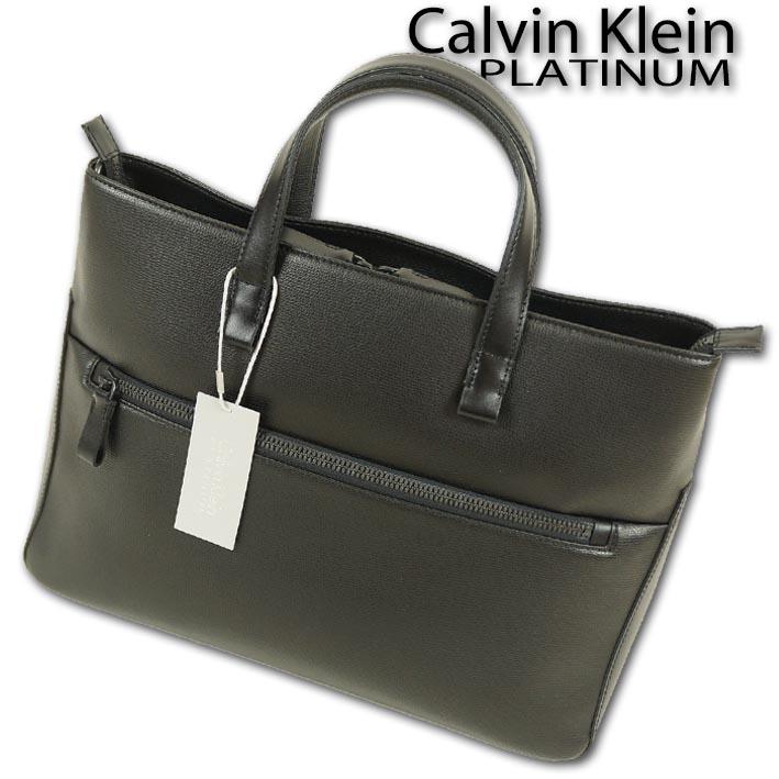 カルバンクラインプラティナム Calvin Klein PLATINUM ブリス 牛革 レザートートバッグ メンズ ブラック 黒 定価58,000円+税