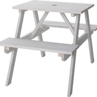 テーブル&ベンチ 幅75cm ホワイト 天然木 バルコニー 庭 アウトドア テラス パラソル立て おしゃれ