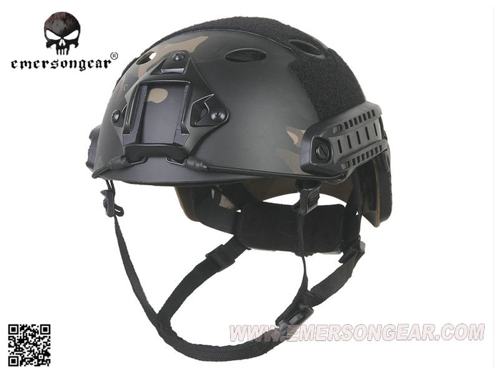 EMERSON製 丸穴 FASTヘルメット PJタイプ ダイヤルライナー付 MultiCam Black マルチカムブラック迷彩