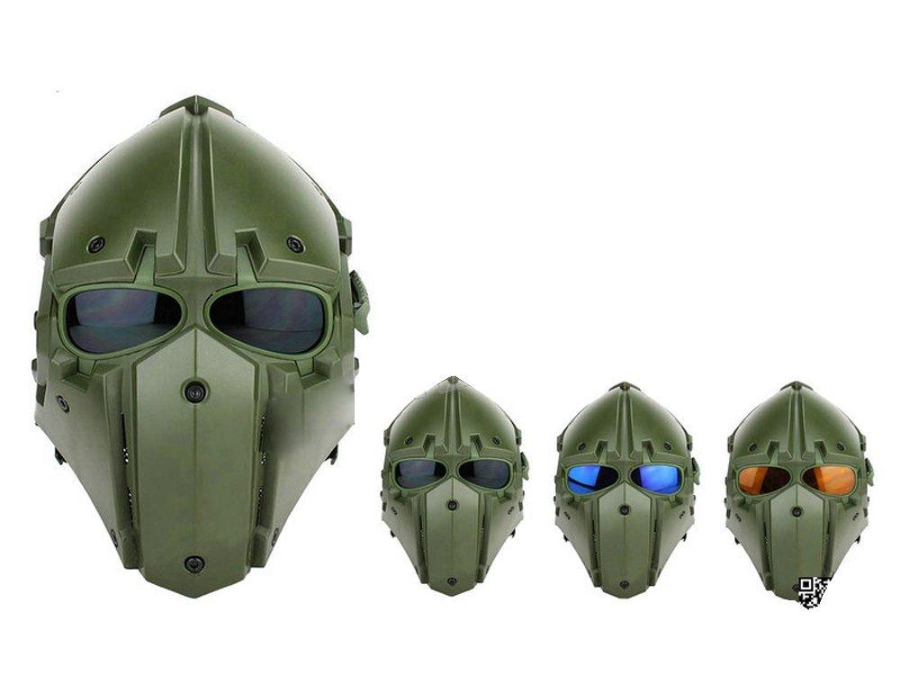 モジュラーヘルメット フルフェイスマスク ヘルメット フルフェイスマスク 1体型 電動換気ファン付 (オリーブドラブ)