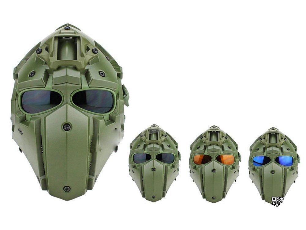 モジュラーヘルメット ヘルメット フルフェイスマスク 1体型 電動換気ファン付 NVGマウント付 (オリーブドラブ)