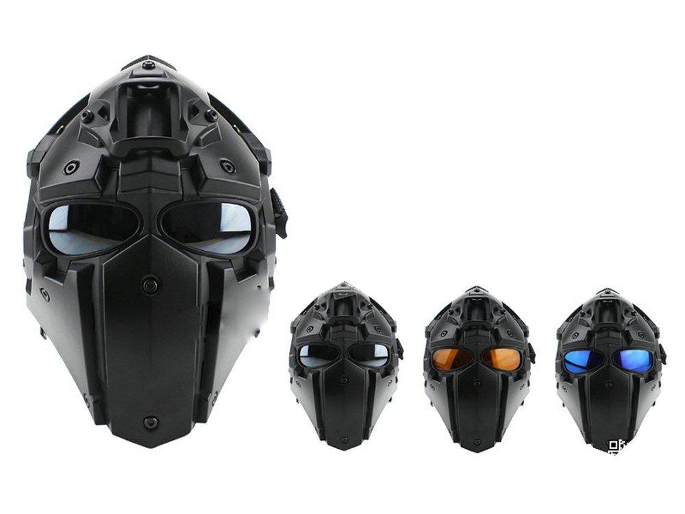 モジュラーヘルメット ヘルメット フルフェイスマスク 1体型 電動換気ファン付 NVGマウント付 (ブラック)